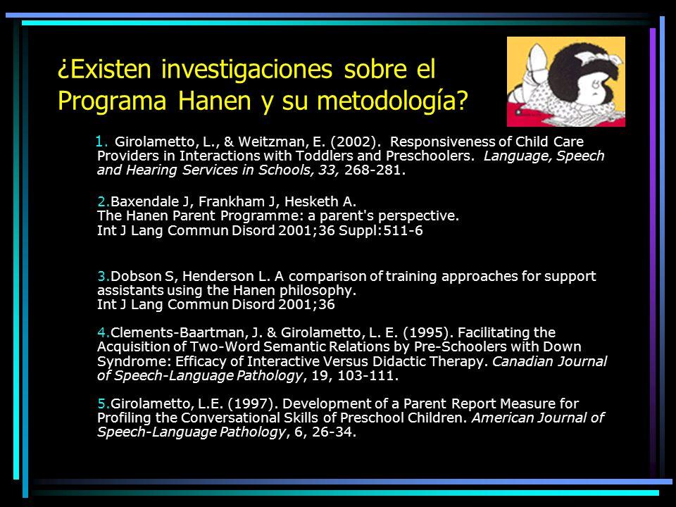 ¿Existen investigaciones sobre el Programa Hanen y su metodología