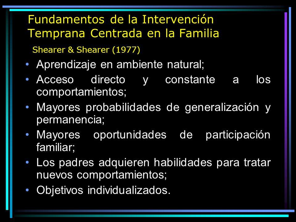 Fundamentos de la Intervención Temprana Centrada en la Familia Shearer & Shearer (1977)