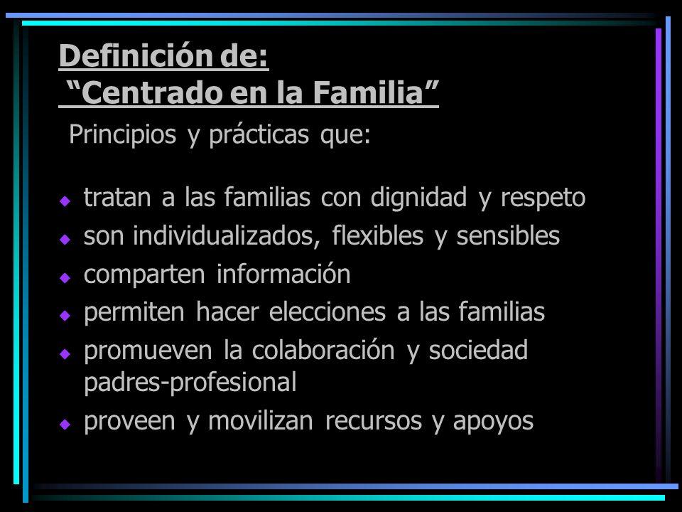 Definición de: Centrado en la Familia Principios y prácticas que: