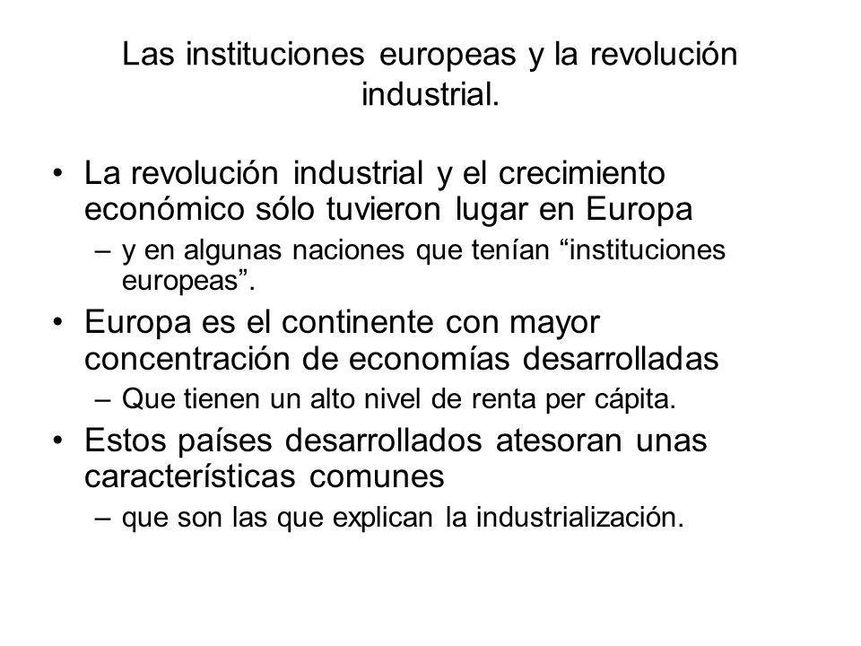 Las instituciones europeas y la revolución industrial.