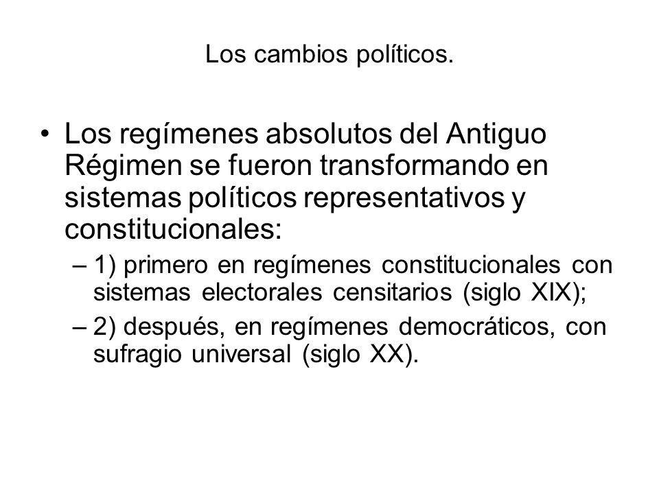 Los cambios políticos. Los regímenes absolutos del Antiguo Régimen se fueron transformando en sistemas políticos representativos y constitucionales:
