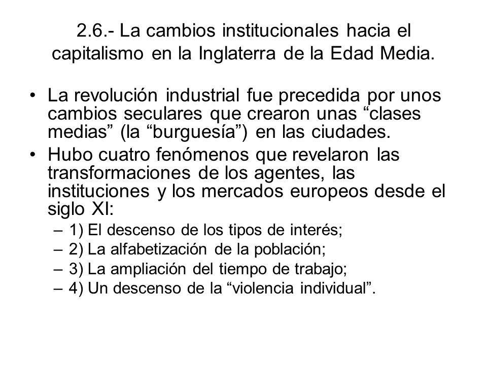 2.6.- La cambios institucionales hacia el capitalismo en la Inglaterra de la Edad Media.