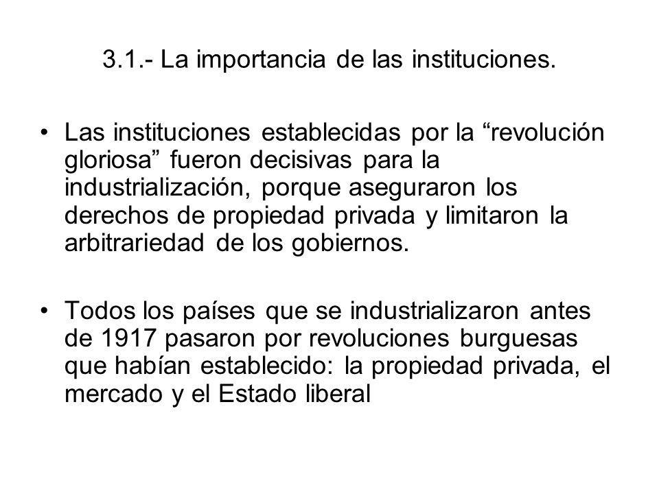 3.1.- La importancia de las instituciones.