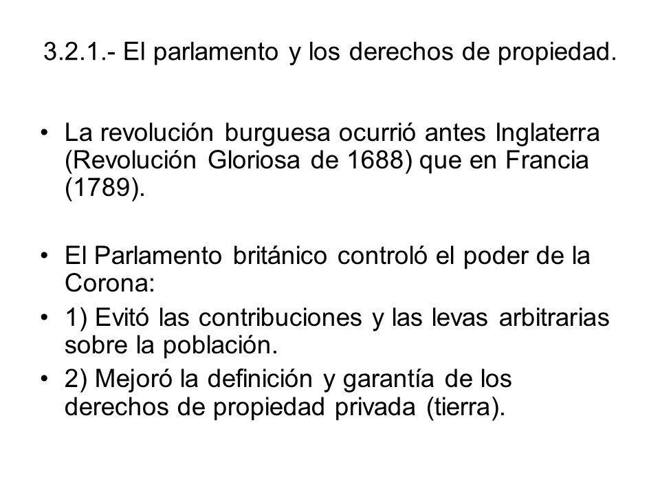 3.2.1.- El parlamento y los derechos de propiedad.