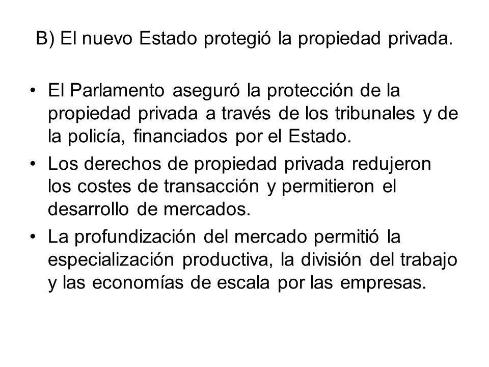 B) El nuevo Estado protegió la propiedad privada.