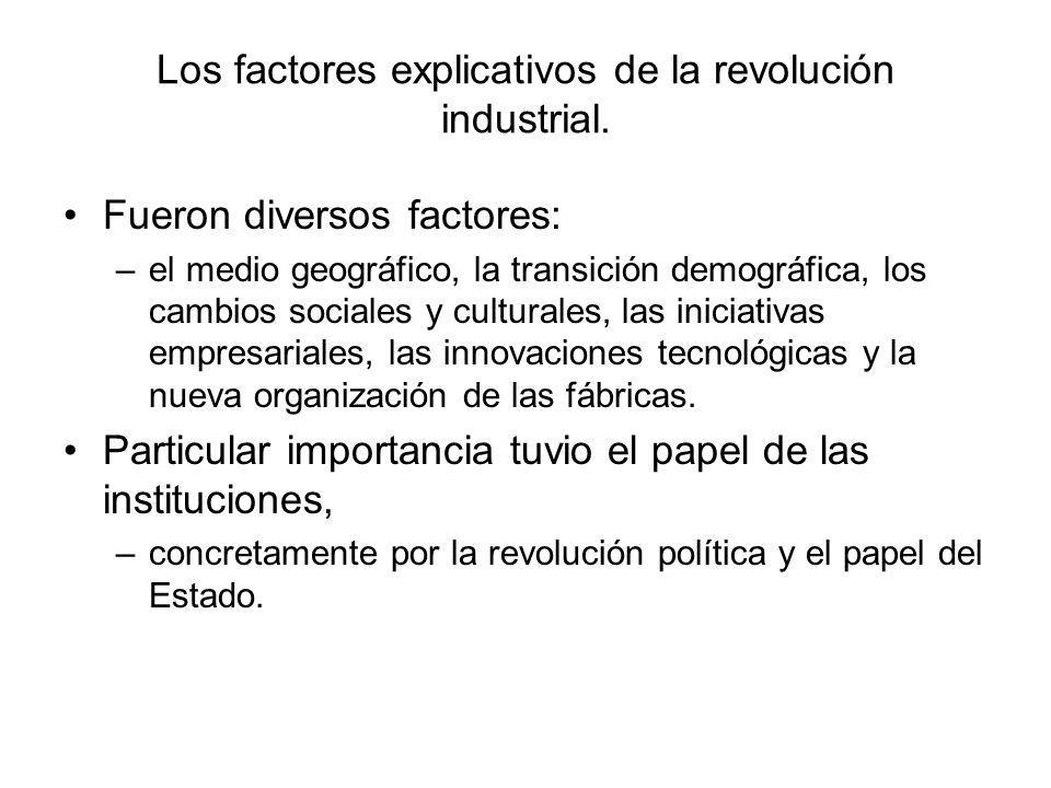 Los factores explicativos de la revolución industrial.