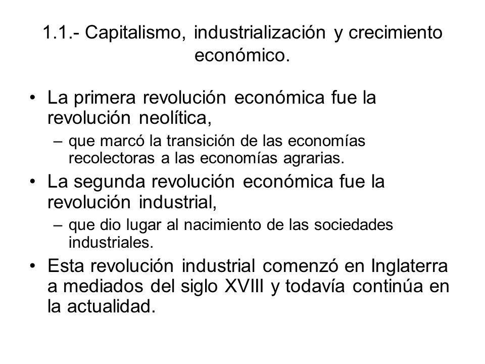 1.1.- Capitalismo, industrialización y crecimiento económico.