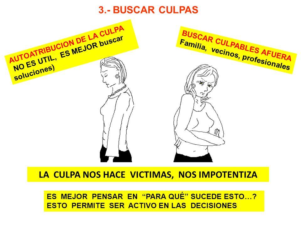 LA CULPA NOS HACE VICTIMAS, NOS IMPOTENTIZA