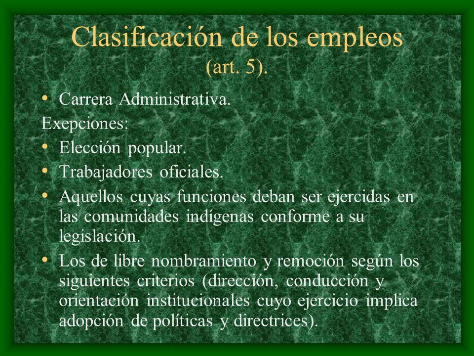 Clasificación de los empleos (art. 5).