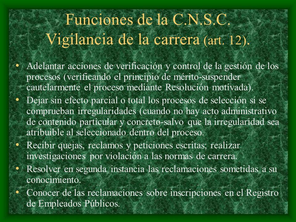Funciones de la C.N.S.C. Vigilancia de la carrera (art. 12).