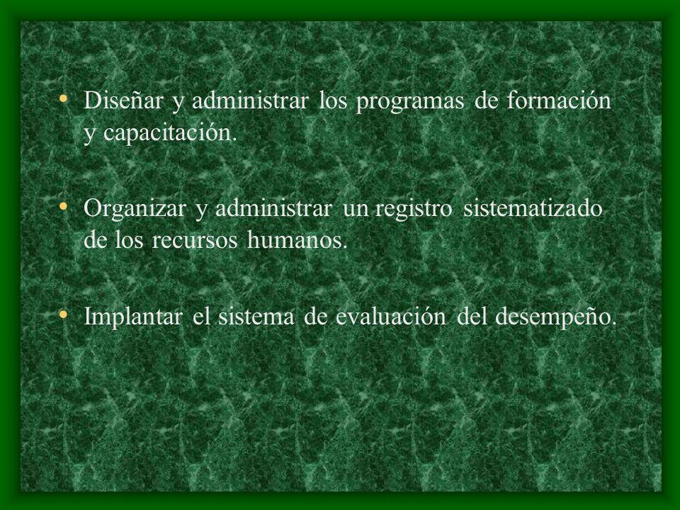 Diseñar y administrar los programas de formación y capacitación.