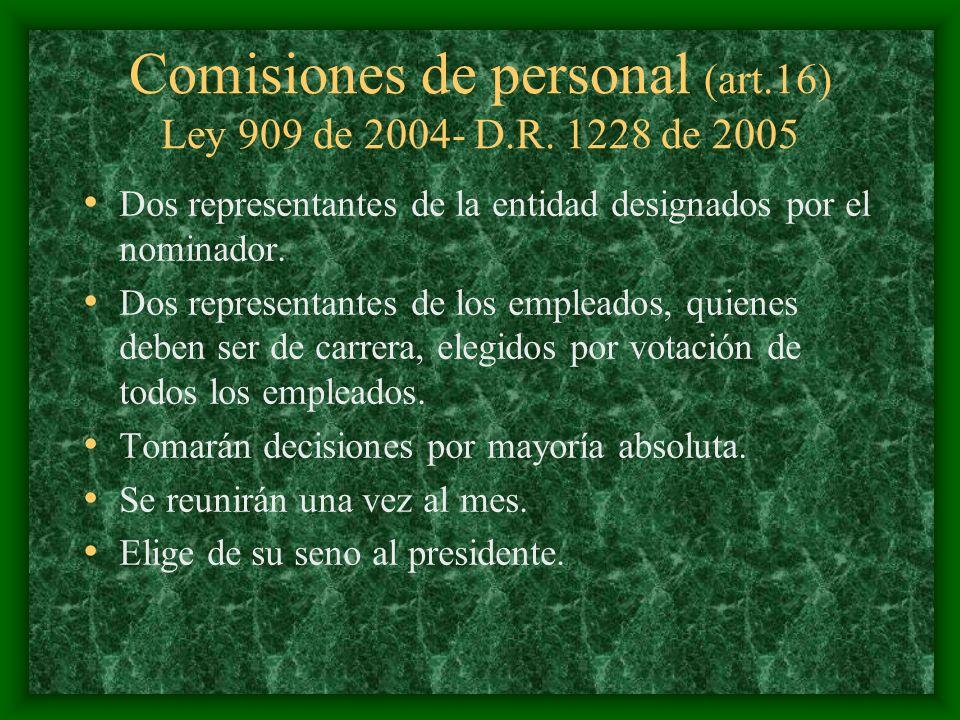 Comisiones de personal (art.16) Ley 909 de 2004- D.R. 1228 de 2005
