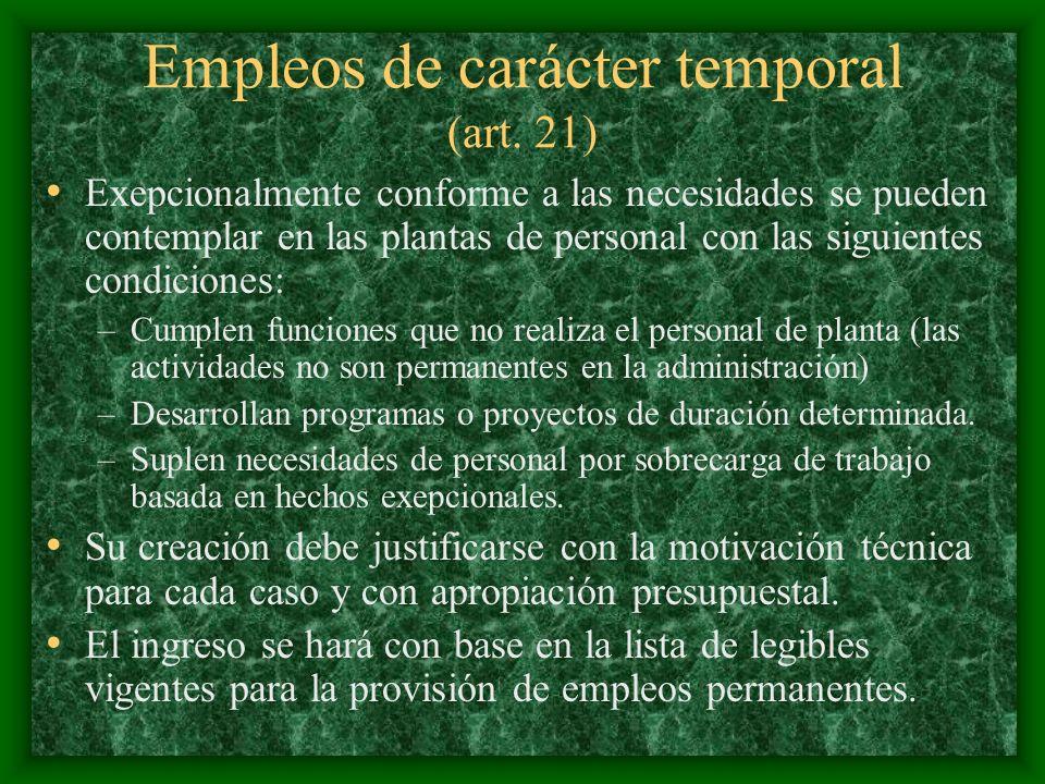 Empleos de carácter temporal (art. 21)