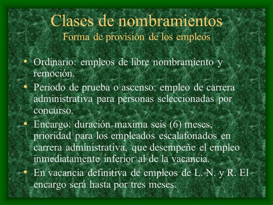 Clases de nombramientos Forma de provisión de los empleos