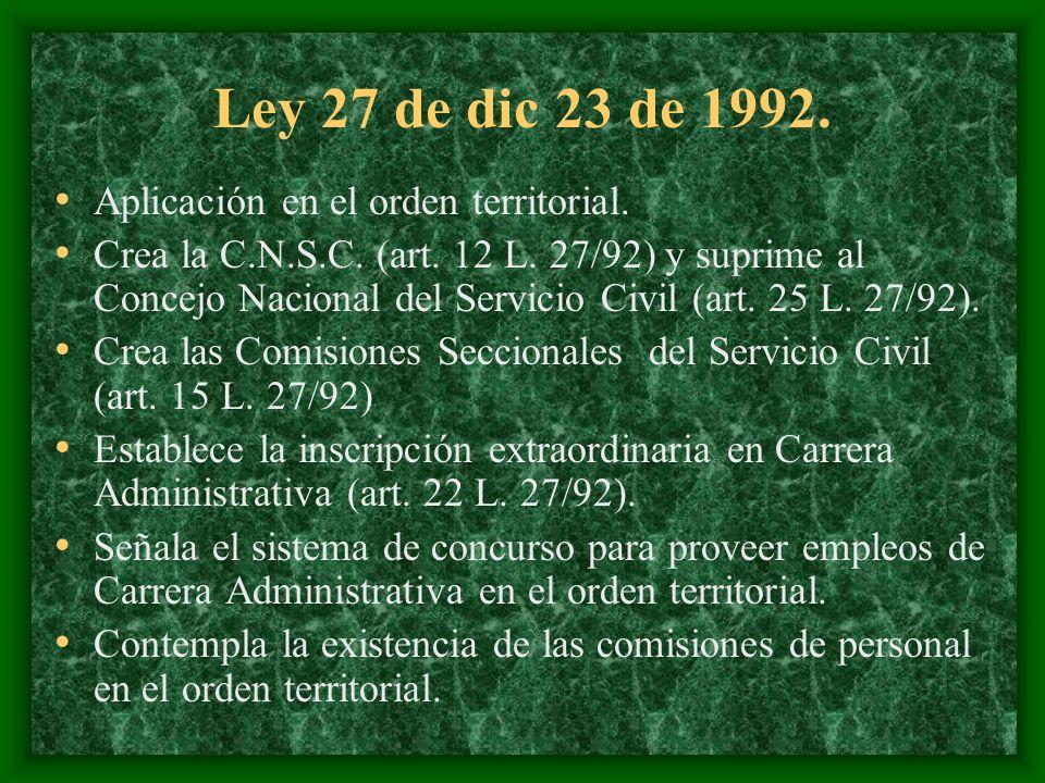 Ley 27 de dic 23 de 1992. Aplicación en el orden territorial.