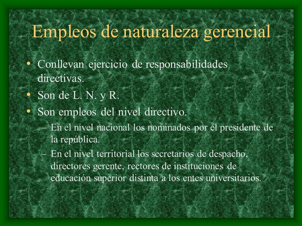 Empleos de naturaleza gerencial