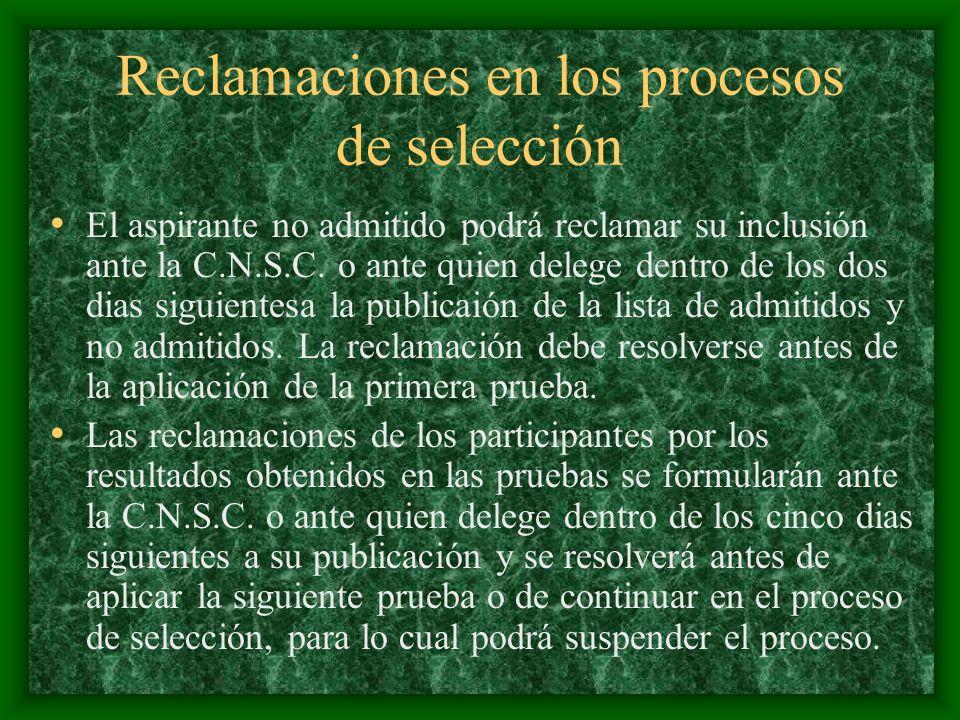 Reclamaciones en los procesos de selección