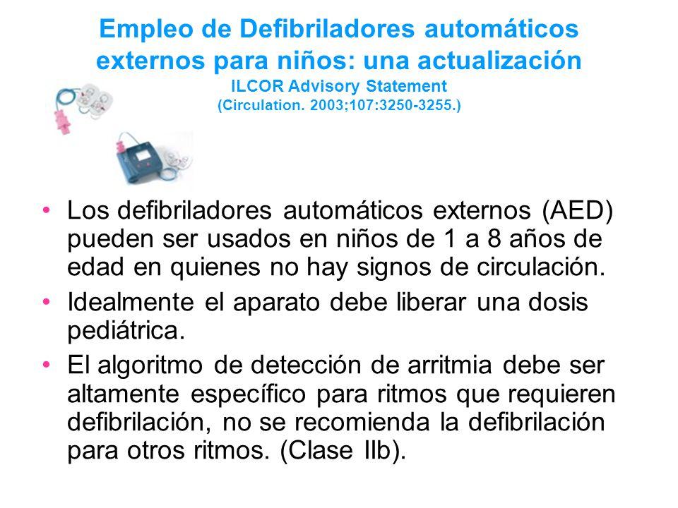 Empleo de Defibriladores automáticos externos para niños: una actualización ILCOR Advisory Statement (Circulation. 2003;107:3250-3255.)