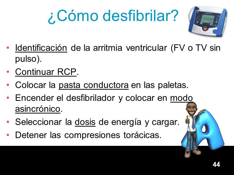 ¿Cómo desfibrilar Identificación de la arritmia ventricular (FV o TV sin pulso). Continuar RCP. Colocar la pasta conductora en las paletas.