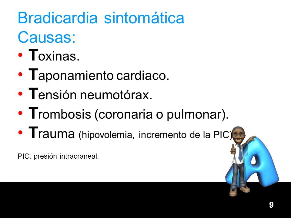 Bradicardia sintomática Causas: