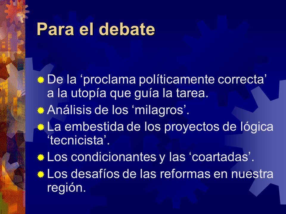 Para el debate De la 'proclama políticamente correcta' a la utopía que guía la tarea. Análisis de los 'milagros'.