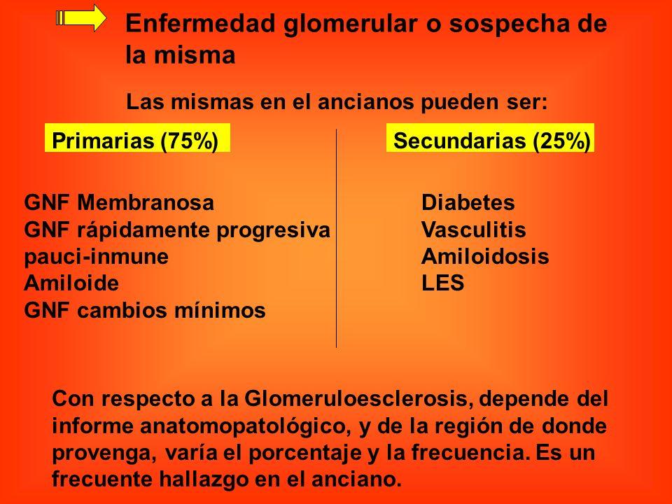 Enfermedad glomerular o sospecha de la misma
