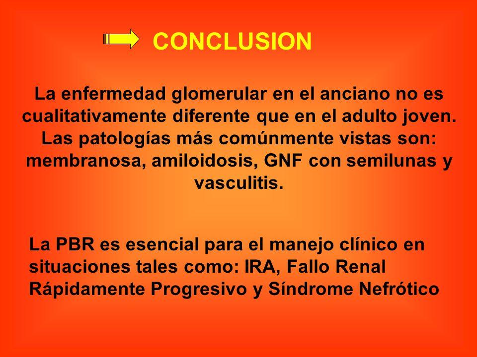CONCLUSION La enfermedad glomerular en el anciano no es