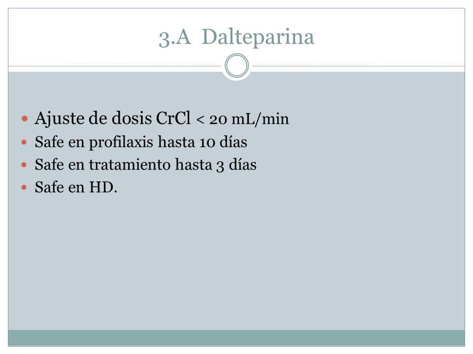 3.A Dalteparina Ajuste de dosis CrCl < 20 mL/min