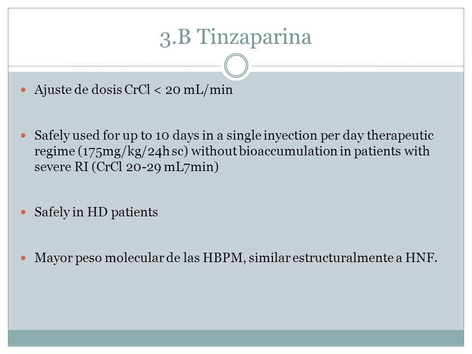 3.B Tinzaparina Ajuste de dosis CrCl < 20 mL/min