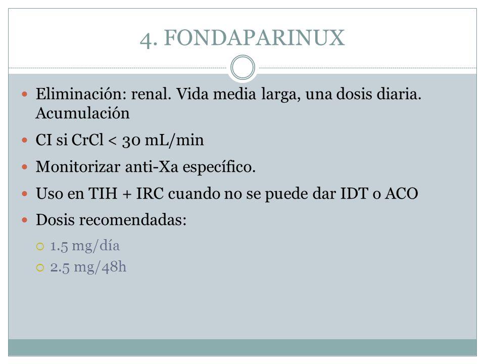4. FONDAPARINUX Eliminación: renal. Vida media larga, una dosis diaria. Acumulación. CI si CrCl < 30 mL/min.