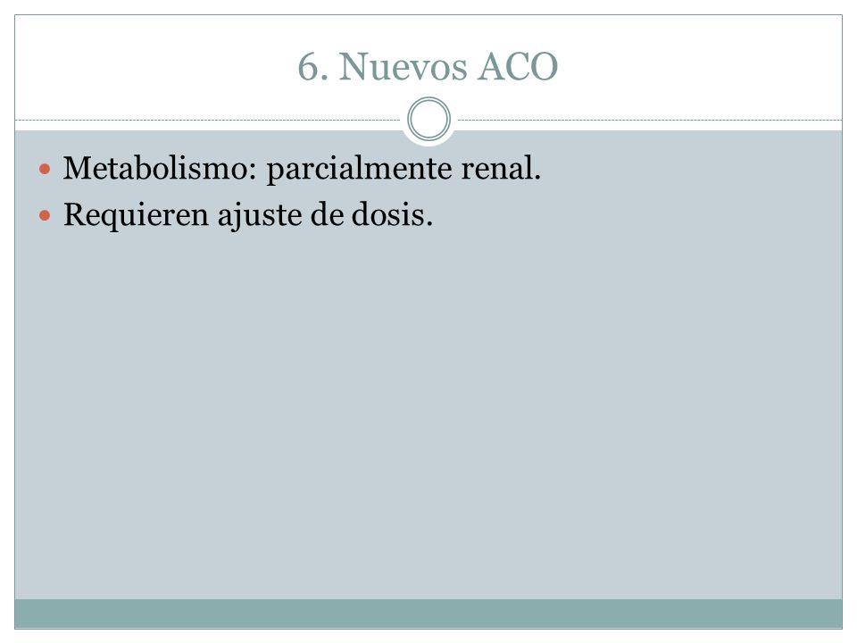 6. Nuevos ACO Metabolismo: parcialmente renal.