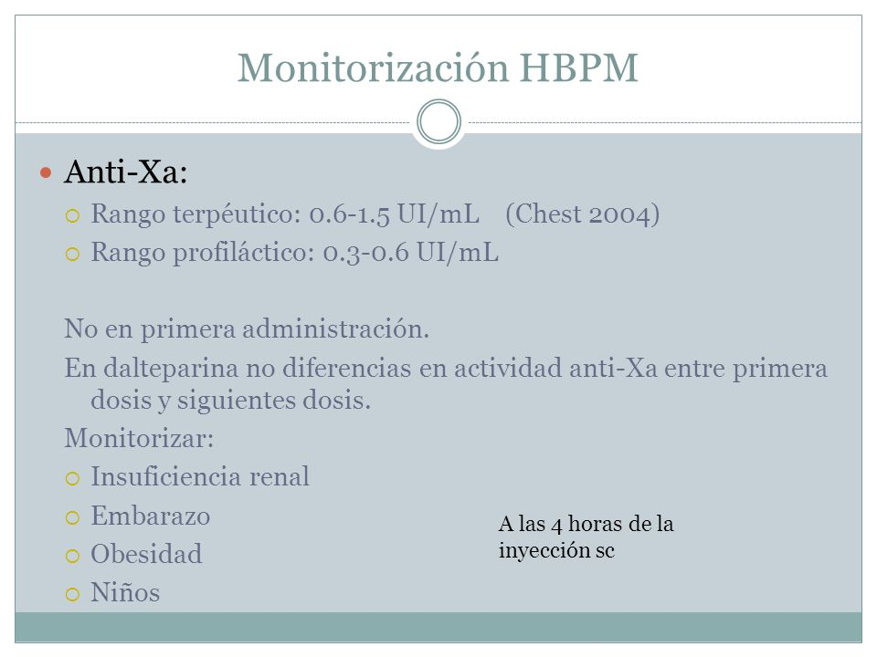 Monitorización HBPM Anti-Xa:
