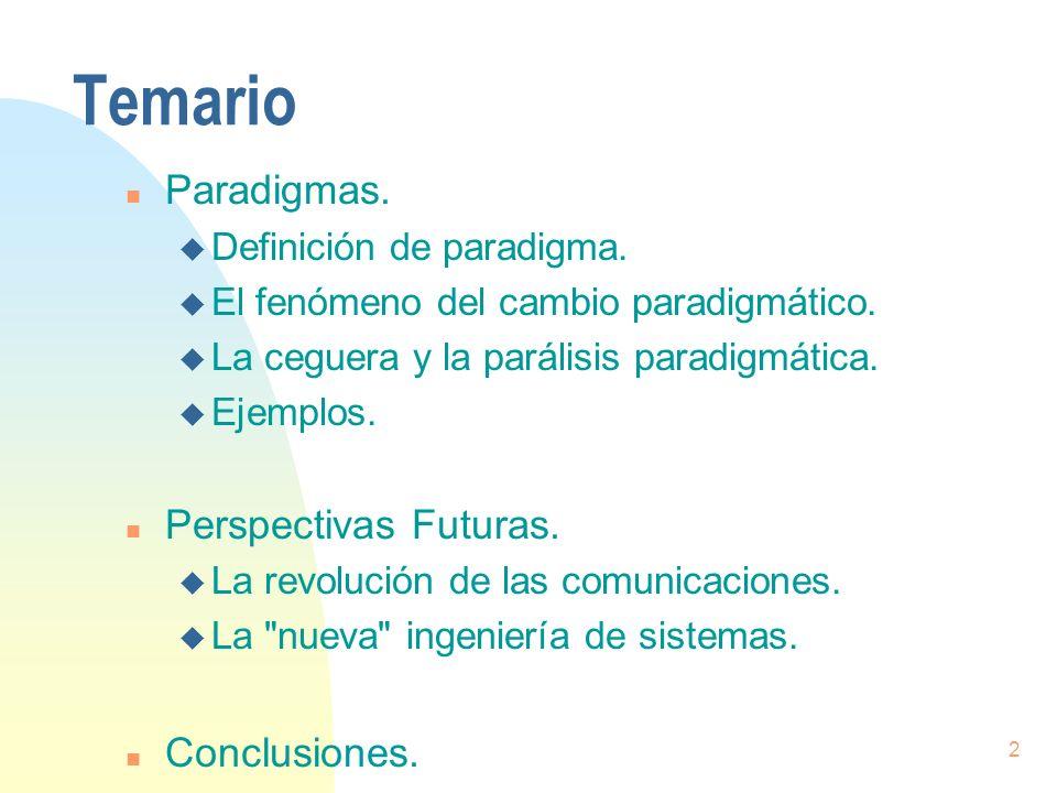 Temario Paradigmas. Perspectivas Futuras. Conclusiones.