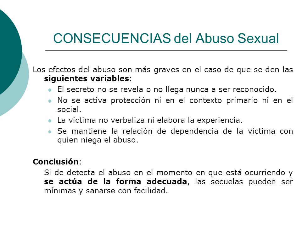 CONSECUENCIAS del Abuso Sexual