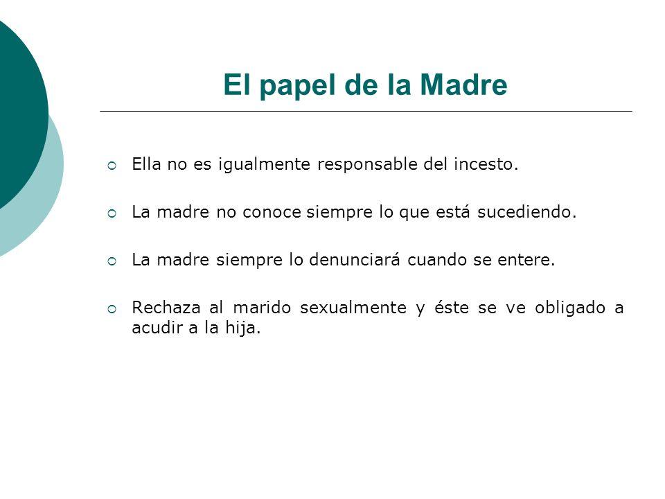 El papel de la Madre Ella no es igualmente responsable del incesto.