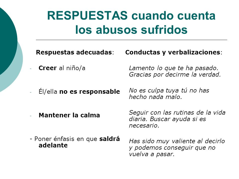RESPUESTAS cuando cuenta los abusos sufridos