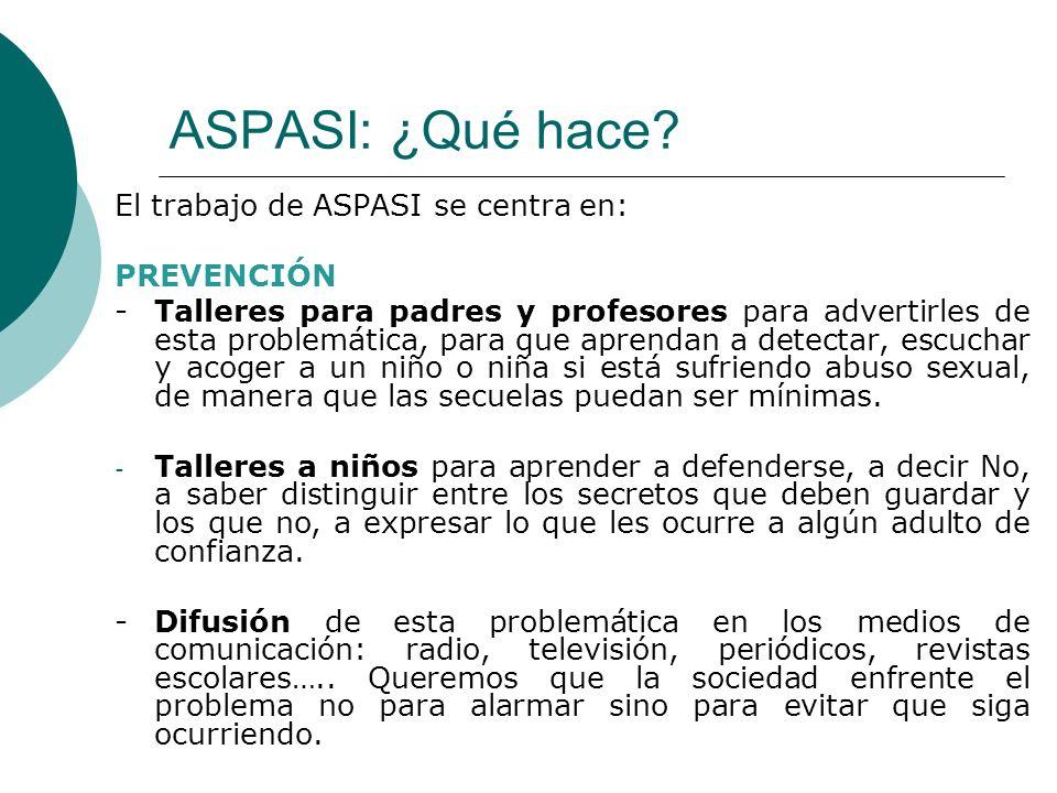 ASPASI: ¿Qué hace El trabajo de ASPASI se centra en: PREVENCIÓN