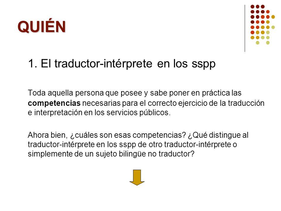QUIÉN 1. El traductor-intérprete en los sspp