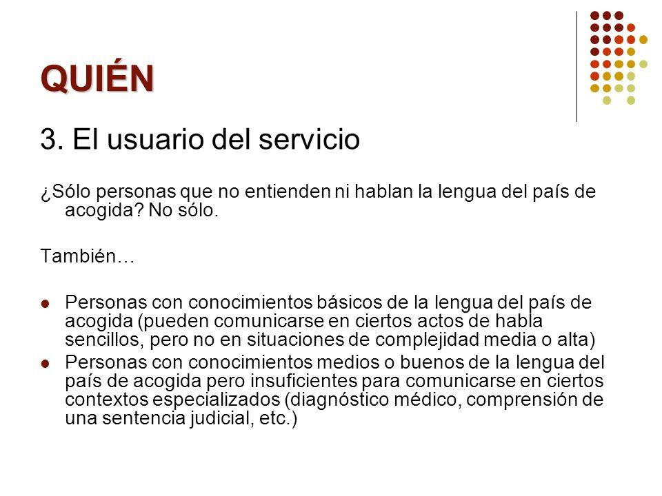 QUIÉN 3. El usuario del servicio
