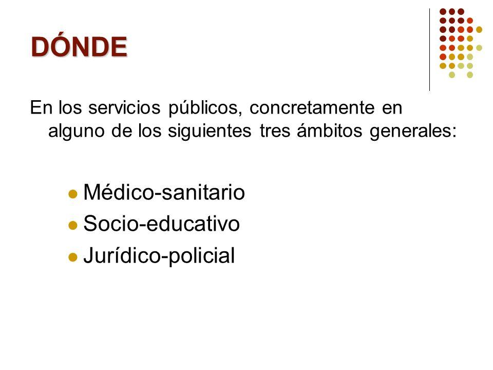 DÓNDE Médico-sanitario Socio-educativo Jurídico-policial