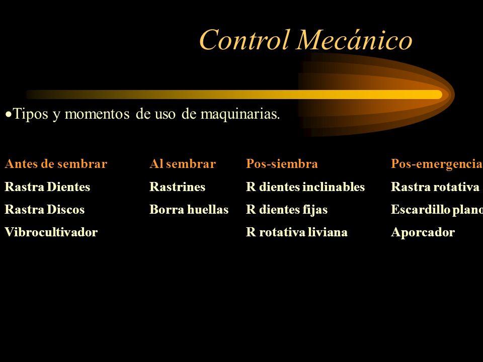 Control Mecánico Tipos y momentos de uso de maquinarias.