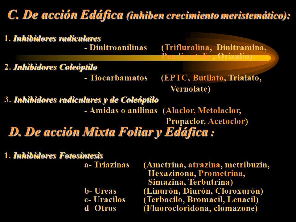 D. De acción Mixta Foliar y Edáfica :