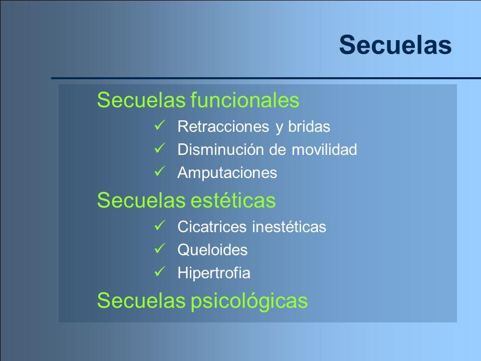 Secuelas Secuelas funcionales Secuelas estéticas Secuelas psicológicas