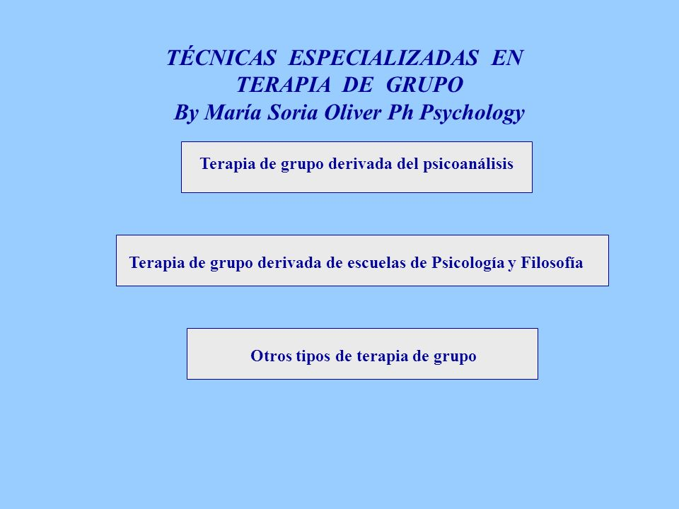TÉCNICAS ESPECIALIZADAS EN By María Soria Oliver Ph Psychology