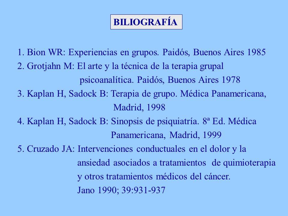 BILIOGRAFÍA 1. Bion WR: Experiencias en grupos. Paidós, Buenos Aires 1985. 2. Grotjahn M: El arte y la técnica de la terapia grupal.