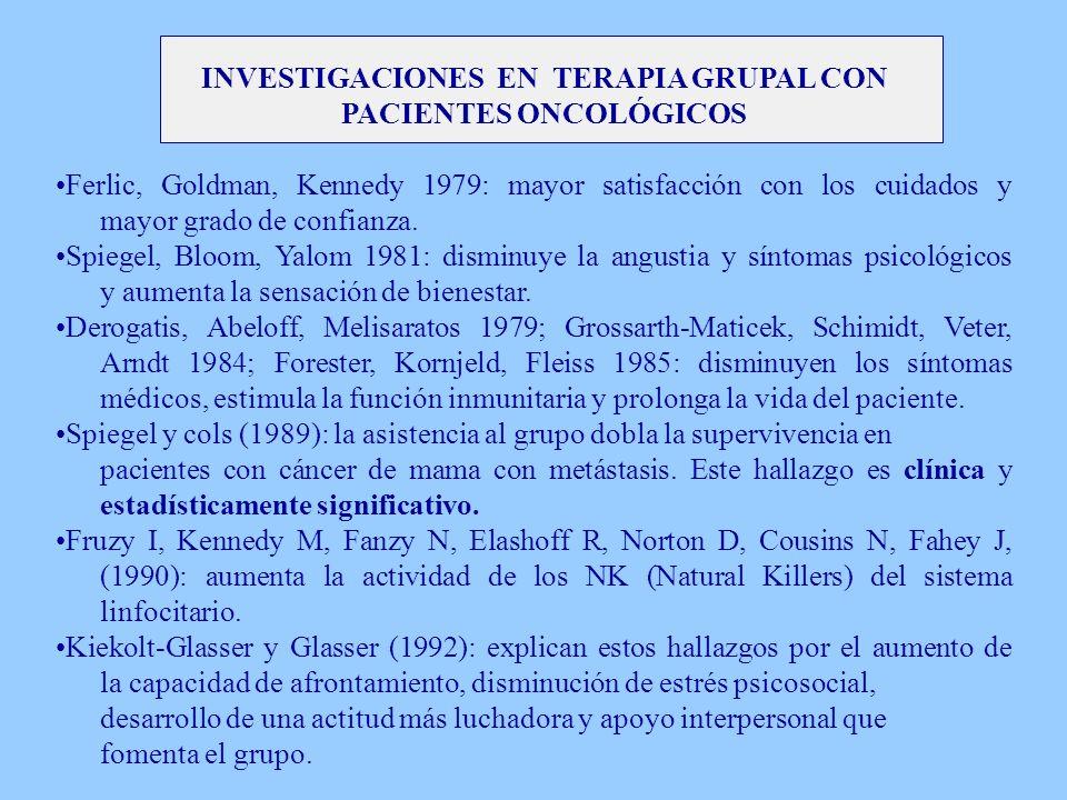 INVESTIGACIONES EN TERAPIA GRUPAL CON PACIENTES ONCOLÓGICOS