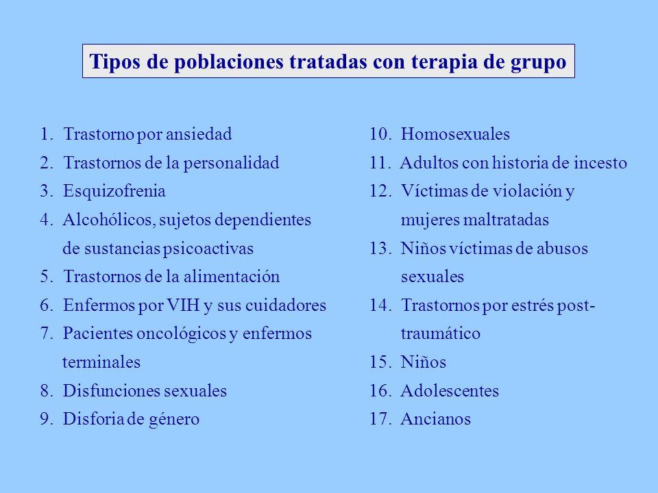 Tipos de poblaciones tratadas con terapia de grupo