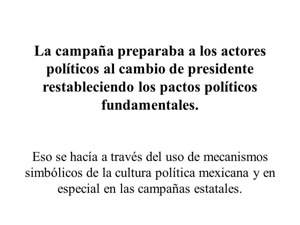 La campaña preparaba a los actores políticos al cambio de presidente restableciendo los pactos políticos fundamentales.