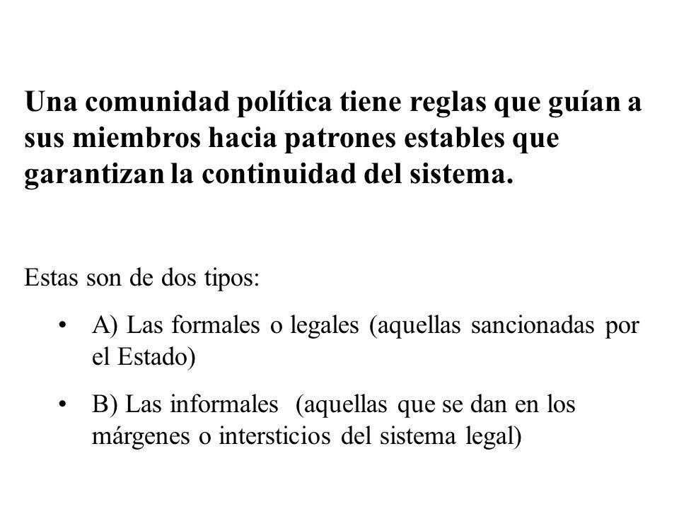 Una comunidad política tiene reglas que guían a sus miembros hacia patrones estables que garantizan la continuidad del sistema.