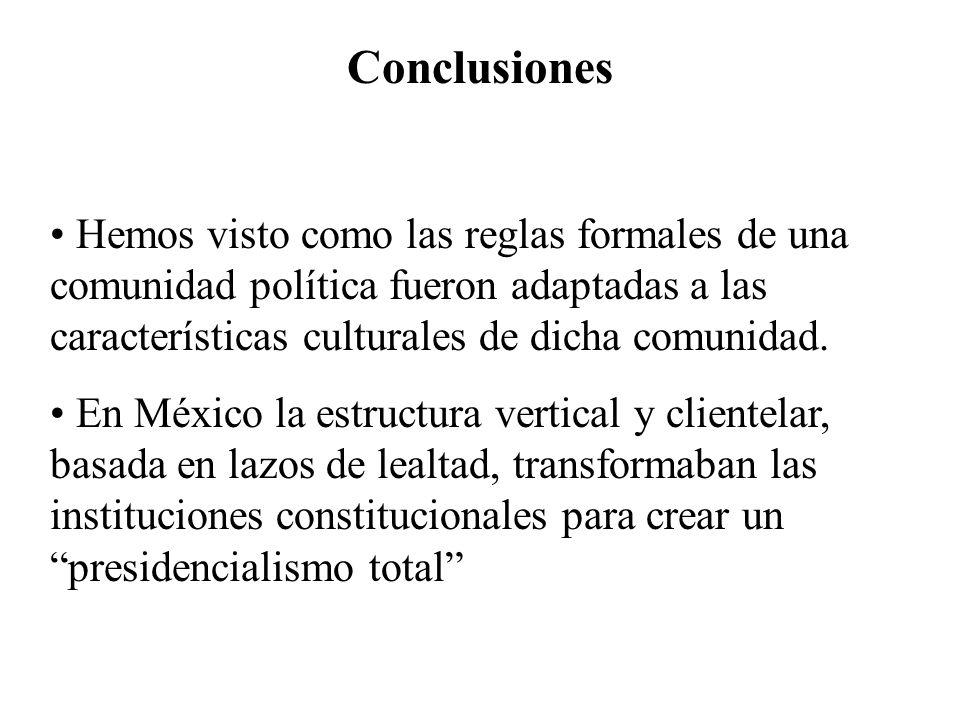 Conclusiones Hemos visto como las reglas formales de una comunidad política fueron adaptadas a las características culturales de dicha comunidad.